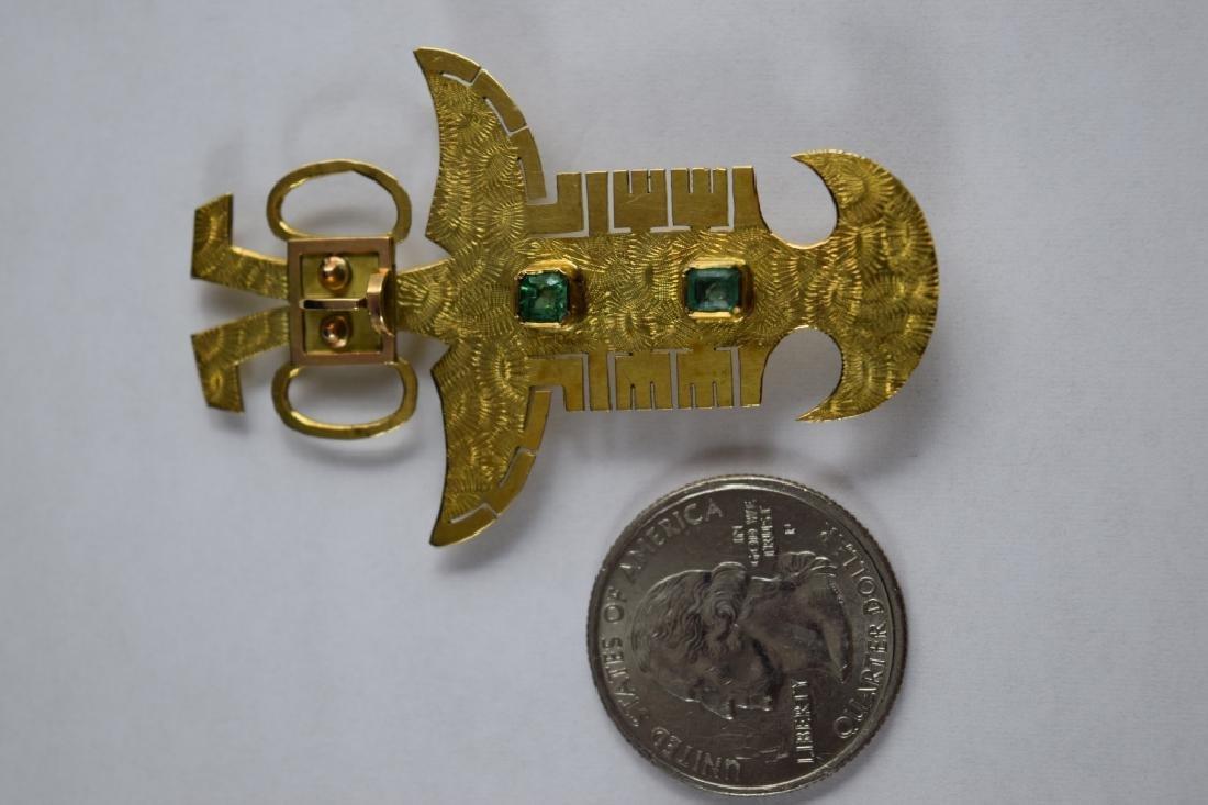 18K GOLD ANTHROPOMORPHIC PECTORAL EMERALD PENDANT - 5