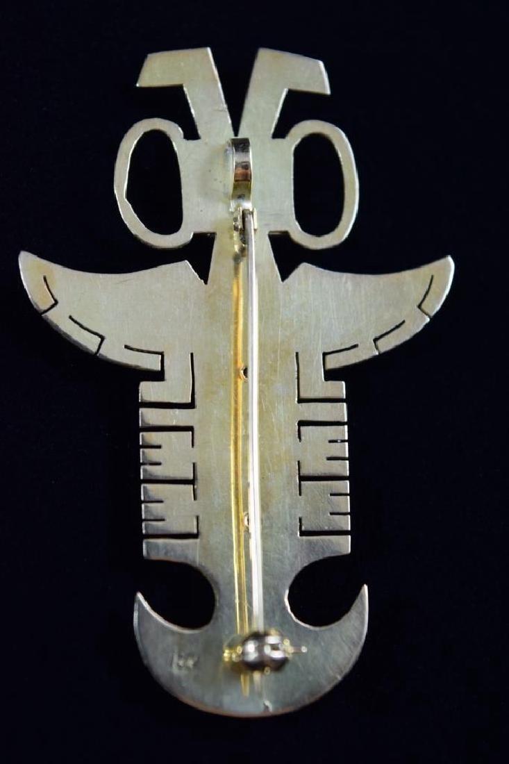 18K GOLD ANTHROPOMORPHIC PECTORAL EMERALD PENDANT - 8