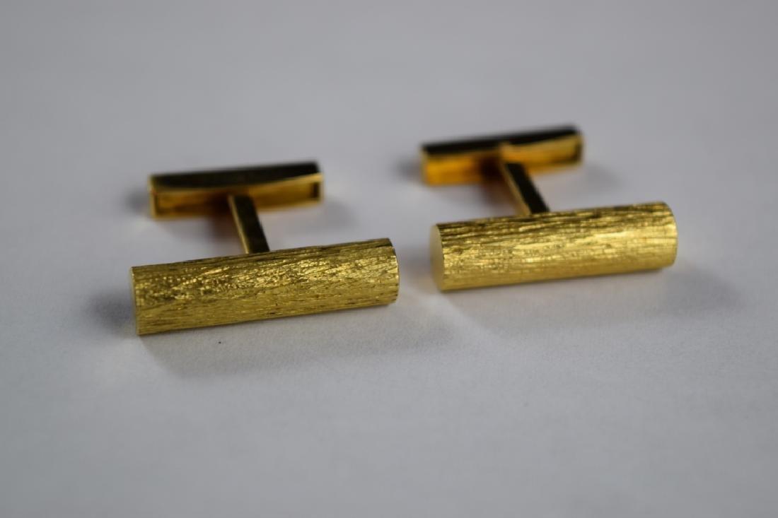 ELEGANT 18K GOLD TEXTURED BAR CUFFLINKS - 4