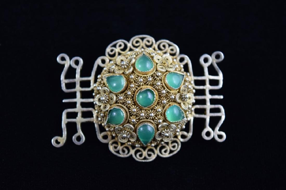 VINTAGE STERLING SILVER FILIGREE BROOCH PIN