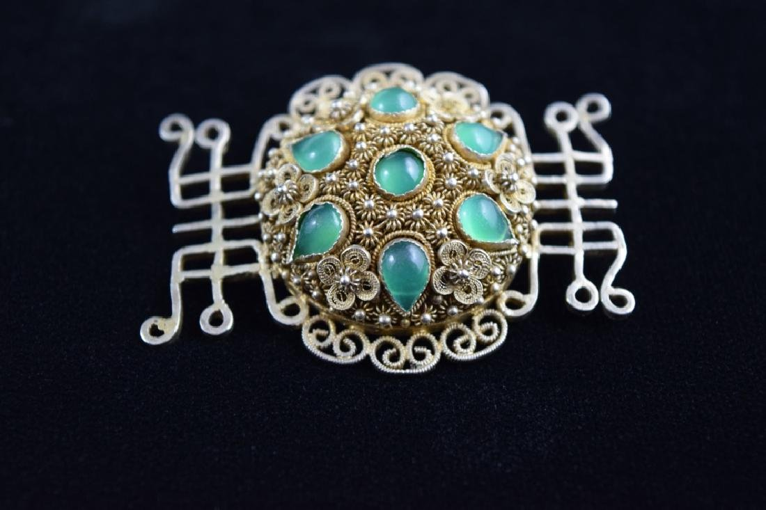 VINTAGE STERLING SILVER FILIGREE BROOCH PIN - 2