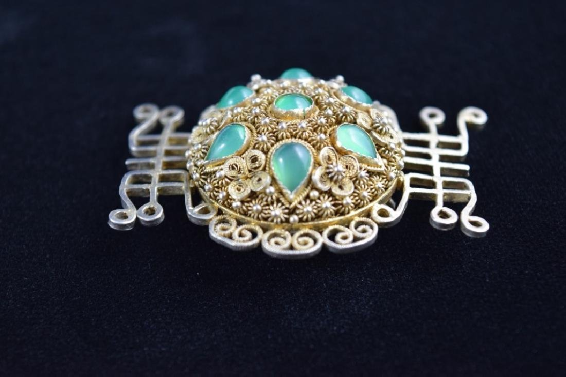VINTAGE STERLING SILVER FILIGREE BROOCH PIN - 3