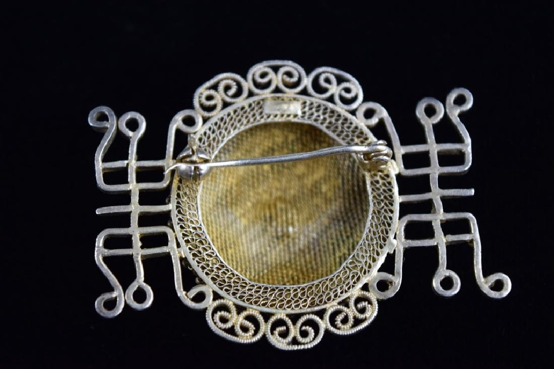 VINTAGE STERLING SILVER FILIGREE BROOCH PIN - 4