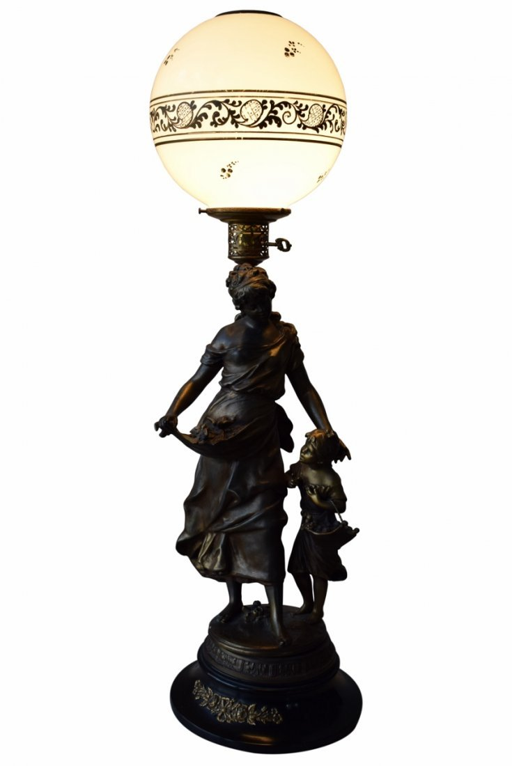 BRONZE LAMP MOTHER CHILD & BIRDS SIGNED MOREAU