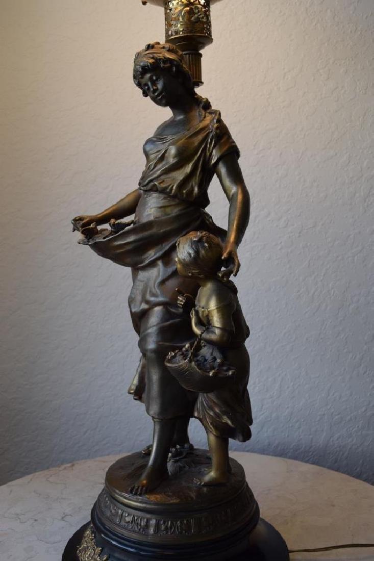 BRONZE LAMP MOTHER CHILD & BIRDS SIGNED MOREAU - 3