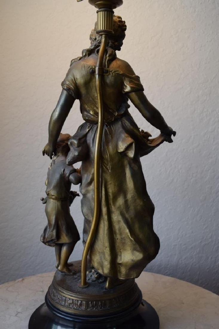 BRONZE LAMP MOTHER CHILD & BIRDS SIGNED MOREAU - 5