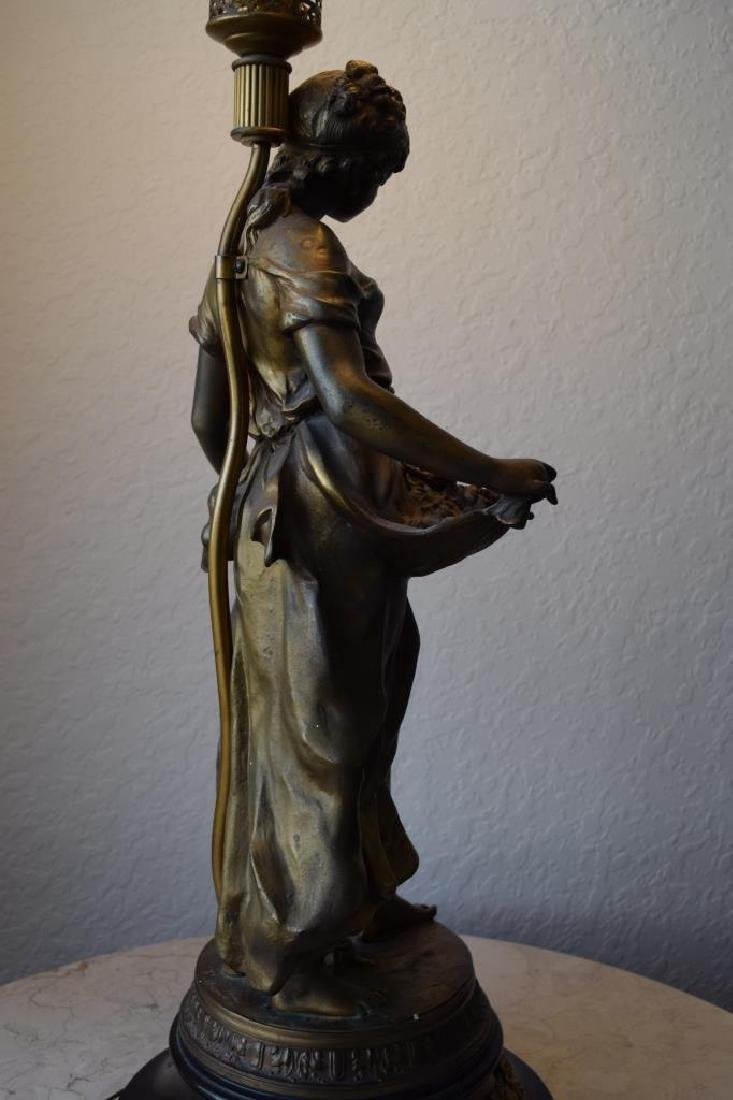 BRONZE LAMP MOTHER CHILD & BIRDS SIGNED MOREAU - 6