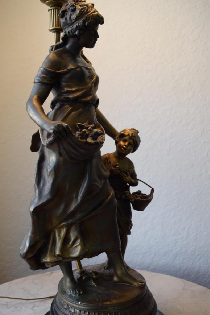 BRONZE LAMP MOTHER CHILD & BIRDS SIGNED MOREAU - 7