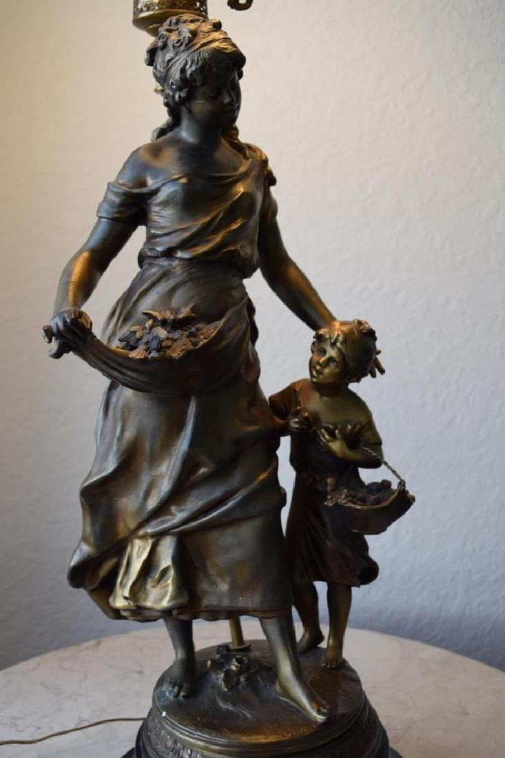 BRONZE LAMP MOTHER CHILD & BIRDS SIGNED MOREAU - 8
