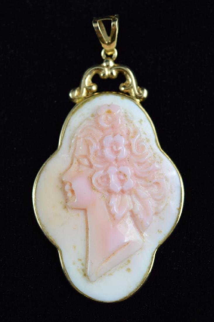 14K GOLD ANGEL SKIN CARVED CORAL CAMEO PENDANT - 7