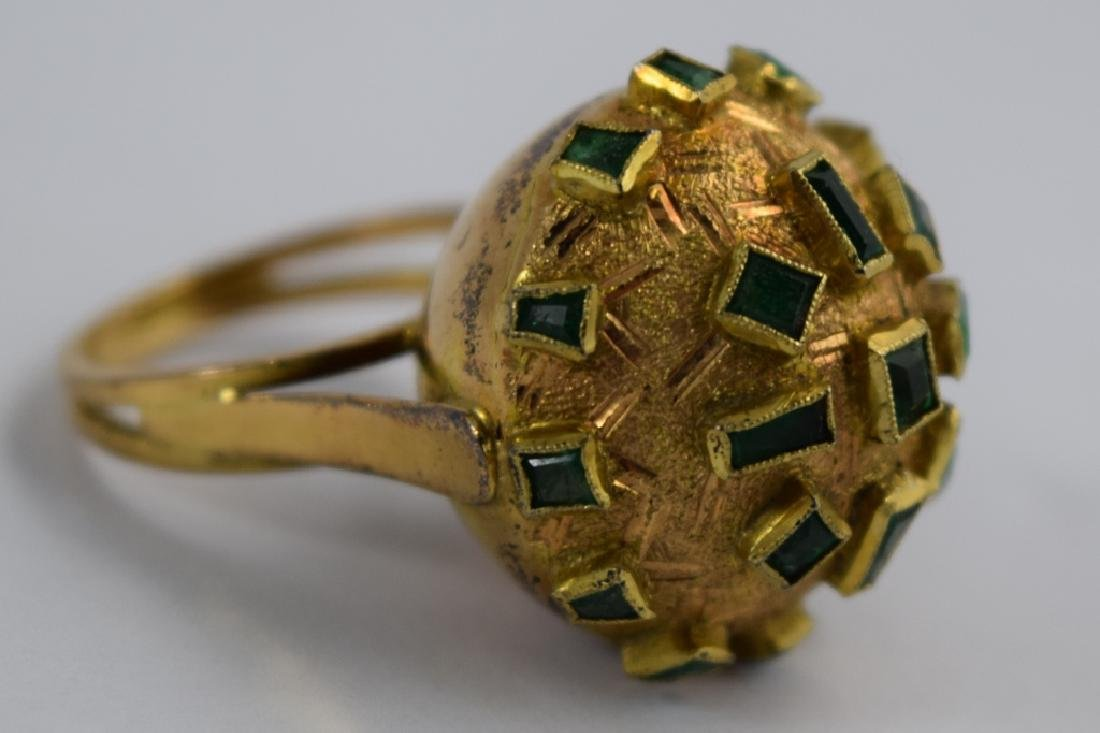18K GOLD EMERALD BULBOUS EMERALD COCKTAIL RING - 3