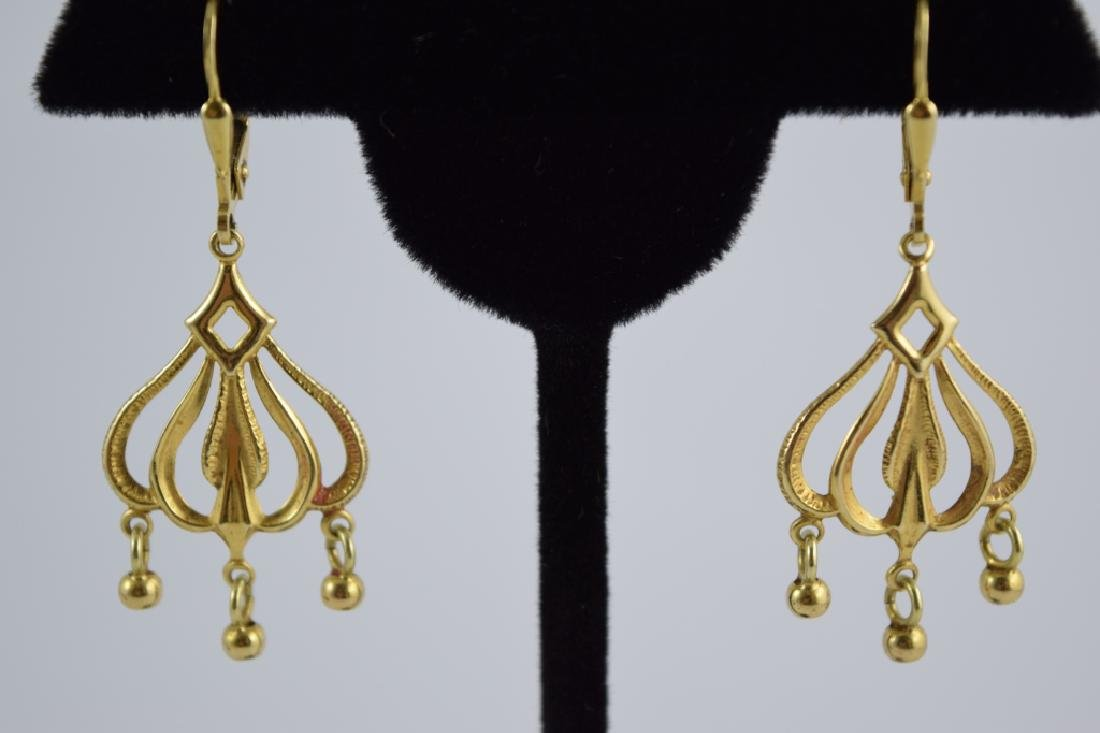 14K GOLD DANGLE ITALIAN CHANDELIER EARRINGS