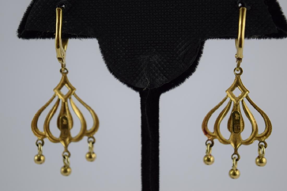 14K GOLD DANGLE ITALIAN CHANDELIER EARRINGS - 3