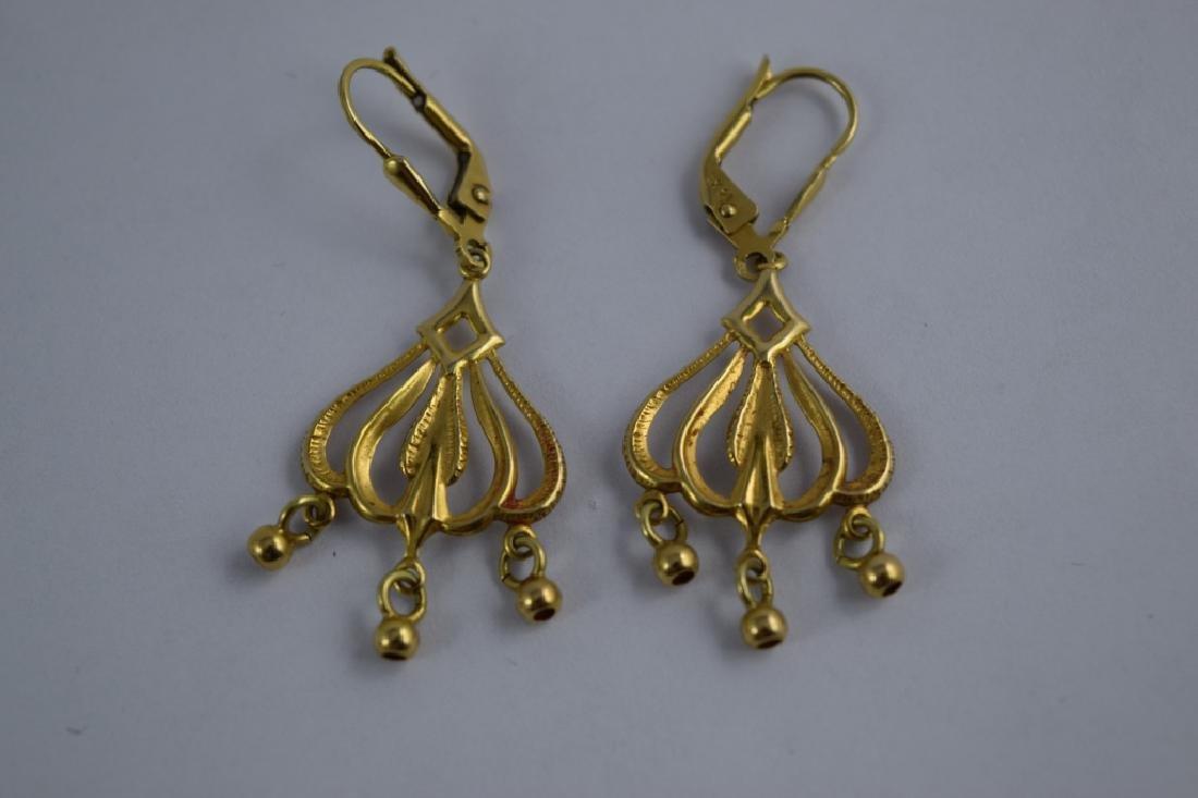 14K GOLD DANGLE ITALIAN CHANDELIER EARRINGS - 7