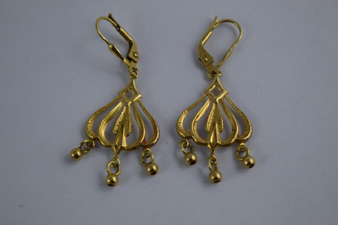 14K GOLD DANGLE ITALIAN CHANDELIER EARRINGS - 7