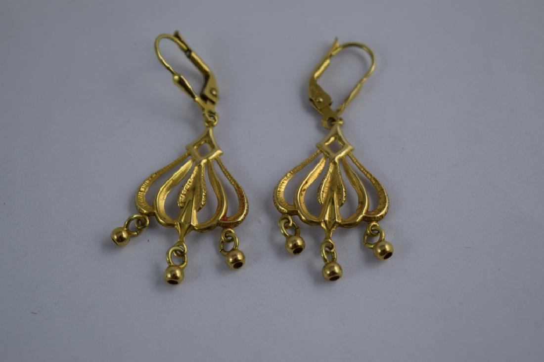 14K GOLD DANGLE ITALIAN CHANDELIER EARRINGS - 8