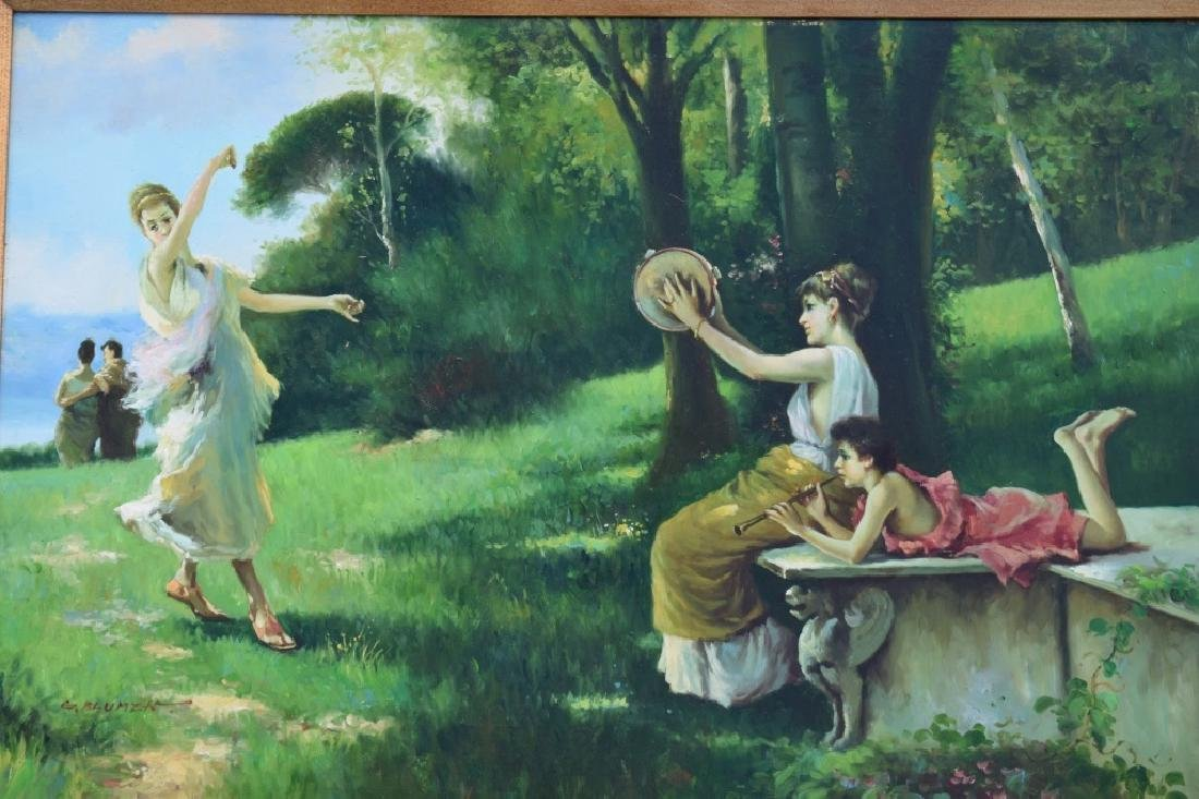 G. BLUMEN OIL ON CANVAS PAINTING WOMAN & GIRLS