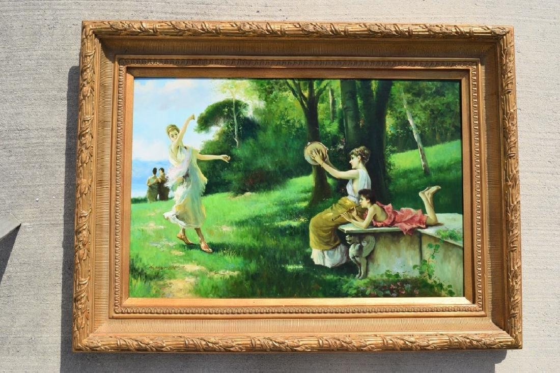 G. BLUMEN OIL ON CANVAS PAINTING WOMAN & GIRLS - 3