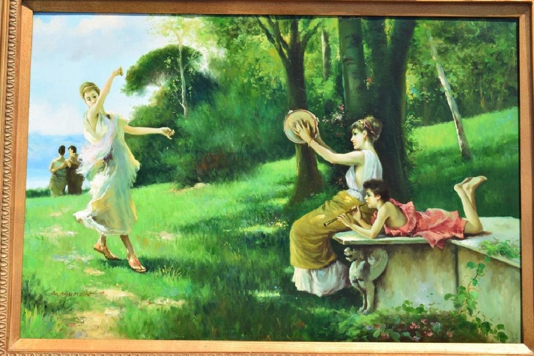 G. BLUMEN OIL ON CANVAS PAINTING WOMAN & GIRLS - 4