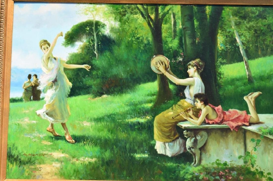 G. BLUMEN OIL ON CANVAS PAINTING WOMAN & GIRLS - 5