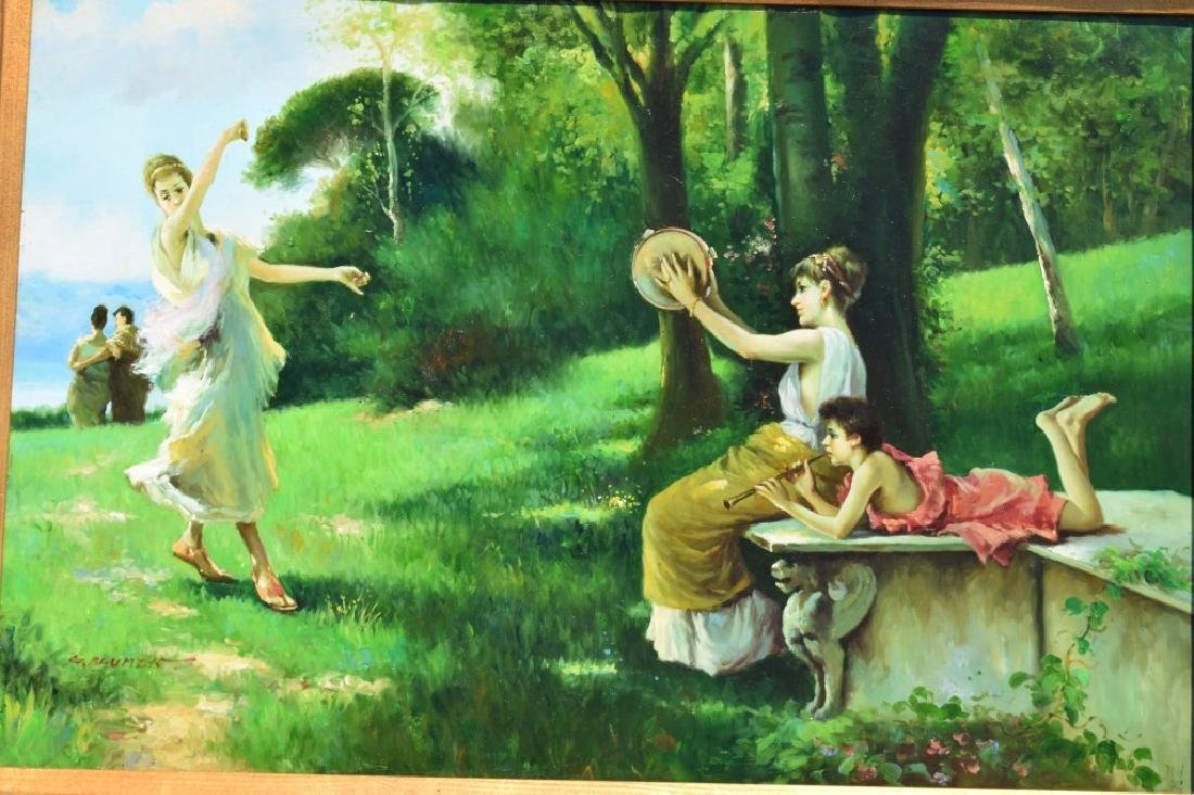 G. BLUMEN OIL ON CANVAS PAINTING WOMAN & GIRLS - 6