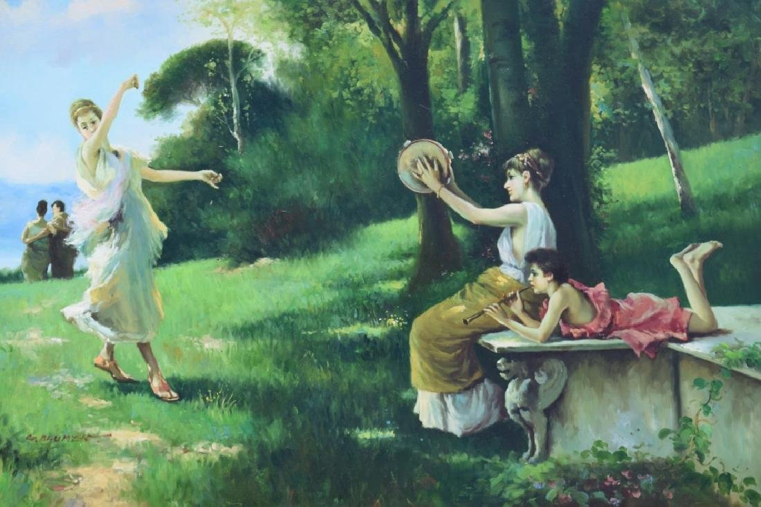 G. BLUMEN OIL ON CANVAS PAINTING WOMAN & GIRLS - 7