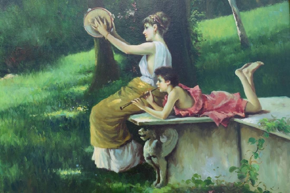 G. BLUMEN OIL ON CANVAS PAINTING WOMAN & GIRLS - 9