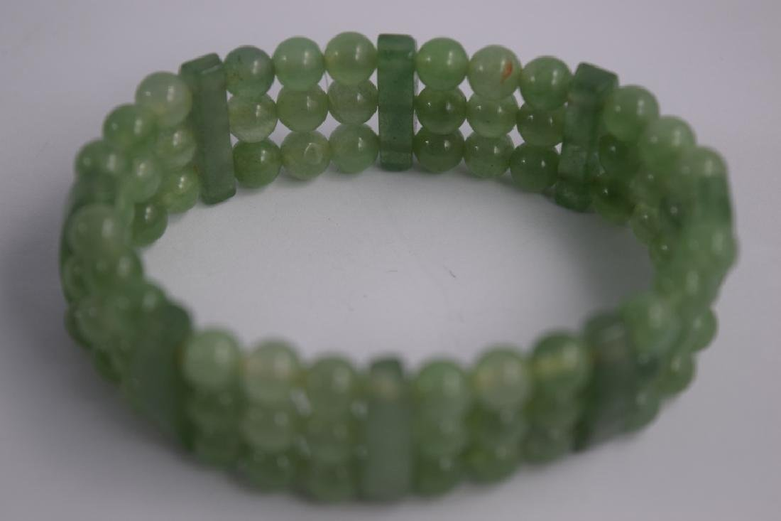 VINTAGE NATURAL JADE BEADED & BARS BRACELET - 2