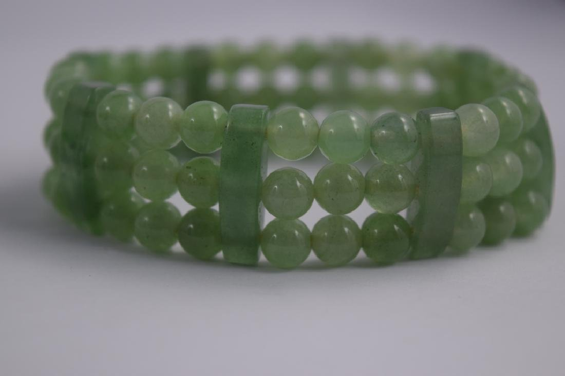 VINTAGE NATURAL JADE BEADED & BARS BRACELET - 3