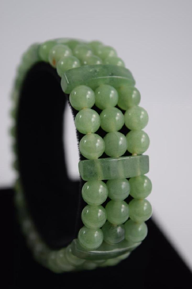 VINTAGE NATURAL JADE BEADED & BARS BRACELET - 8