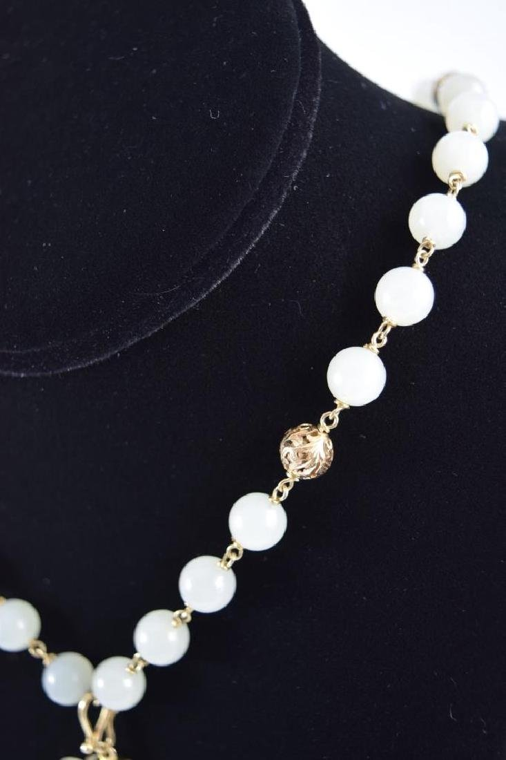 14K GOLD WHITE JADE BEADED NECKLACE & PENDANT - 11