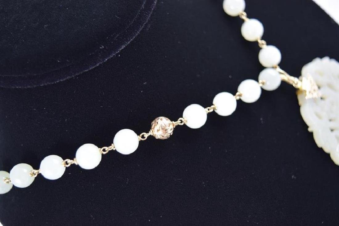 14K GOLD WHITE JADE BEADED NECKLACE & PENDANT - 12