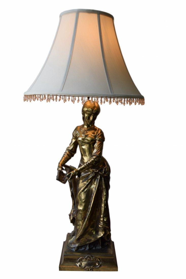 MARGUERITE WOMAN BRONZE LAMP ADRIAN ETIENNE GAUDEZ
