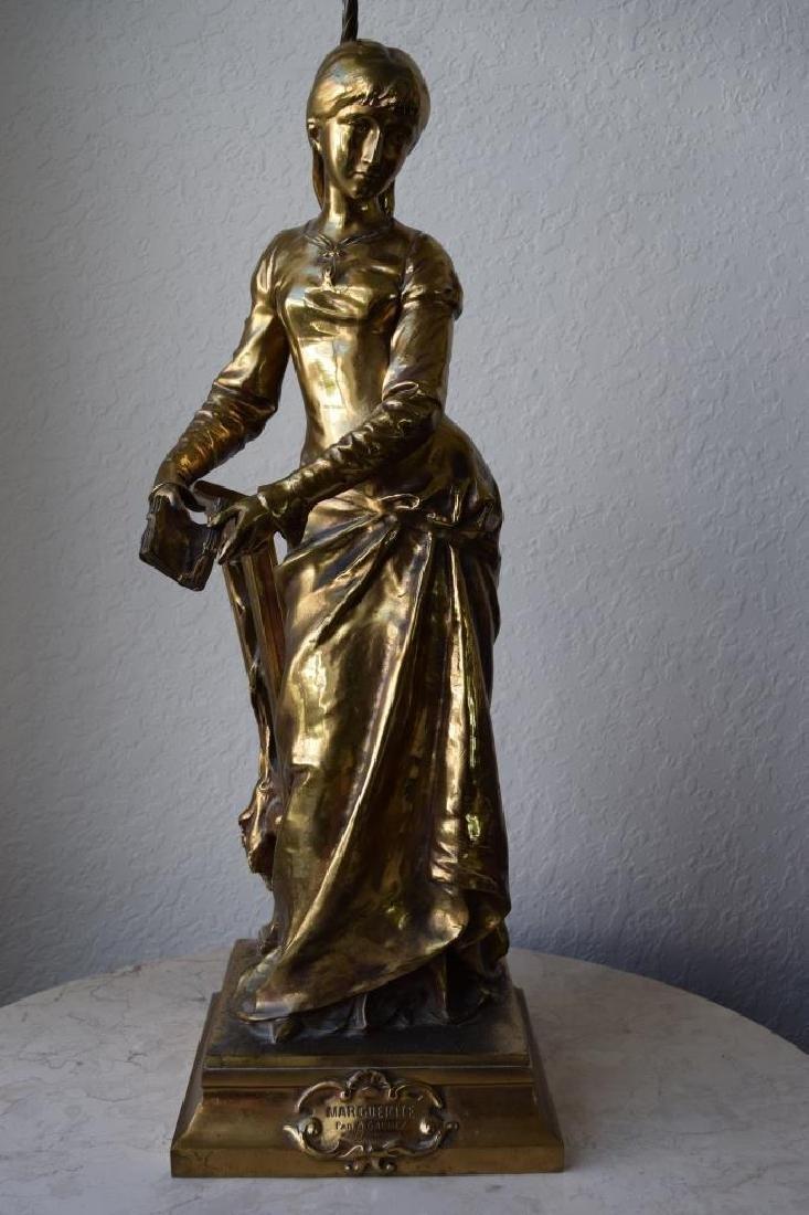 MARGUERITE WOMAN BRONZE LAMP ADRIAN ETIENNE GAUDEZ - 2