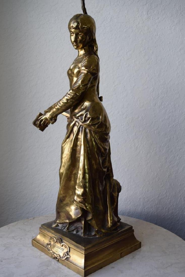 MARGUERITE WOMAN BRONZE LAMP ADRIAN ETIENNE GAUDEZ - 3