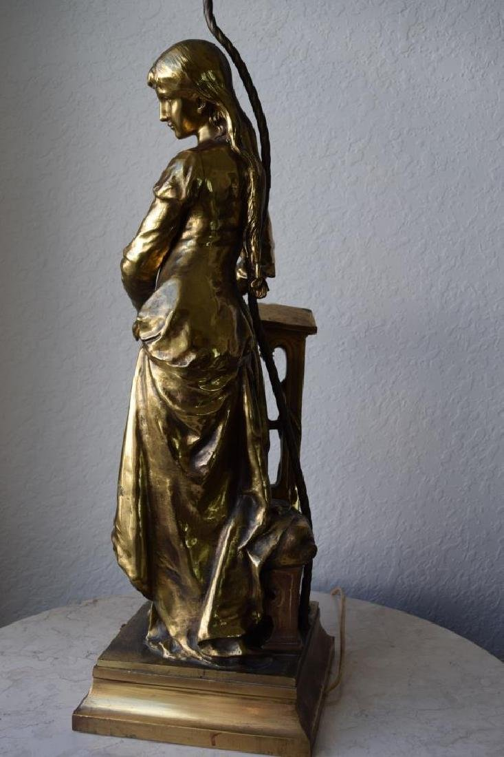 MARGUERITE WOMAN BRONZE LAMP ADRIAN ETIENNE GAUDEZ - 4