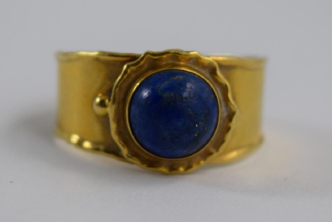 VINTAGE 18K GOLD LAPIS CABACHON ITALIAN CUFF RING