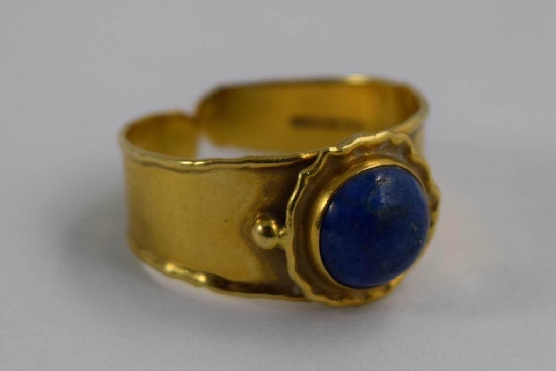 VINTAGE 18K GOLD LAPIS CABACHON ITALIAN CUFF RING - 2