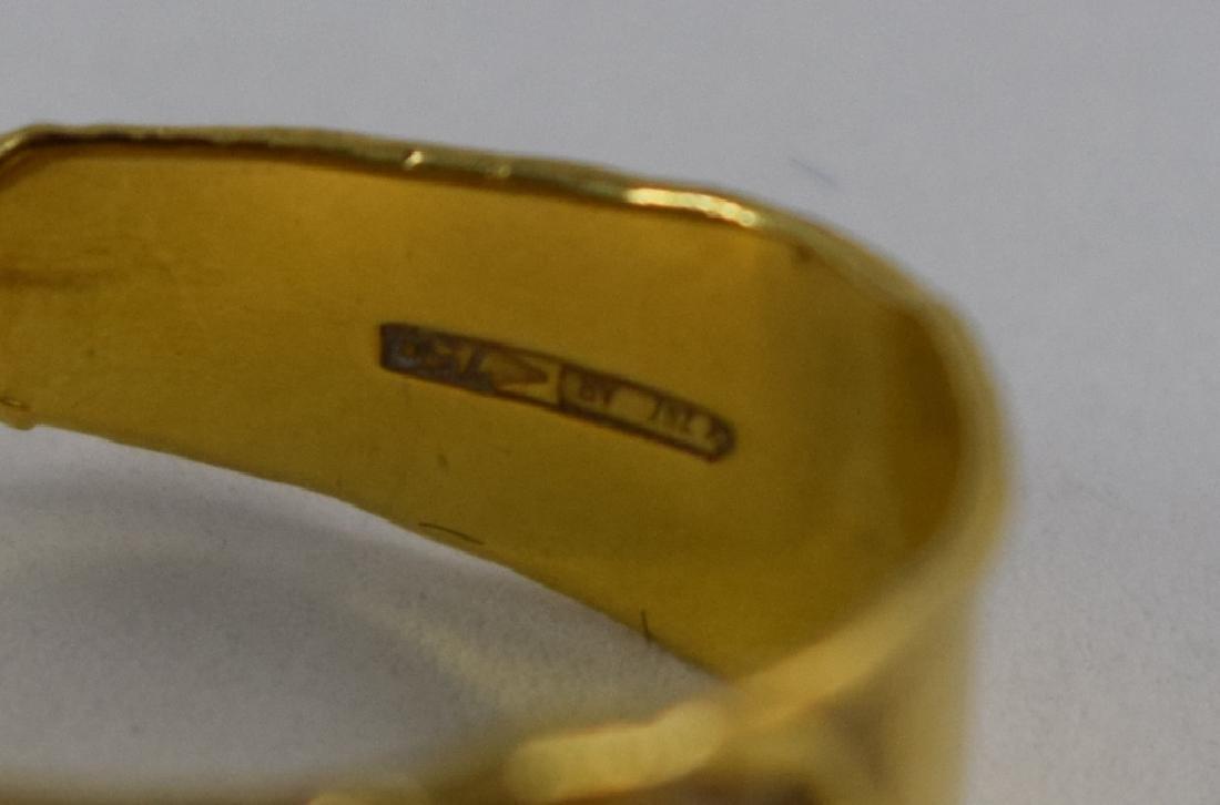 VINTAGE 18K GOLD LAPIS CABACHON ITALIAN CUFF RING - 4
