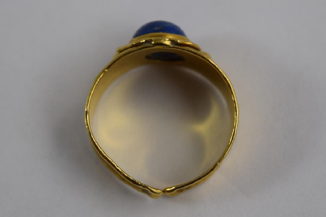 VINTAGE 18K GOLD LAPIS CABACHON ITALIAN CUFF RING - 5