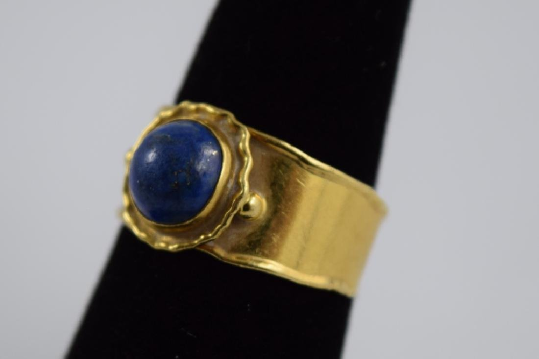 VINTAGE 18K GOLD LAPIS CABACHON ITALIAN CUFF RING - 7