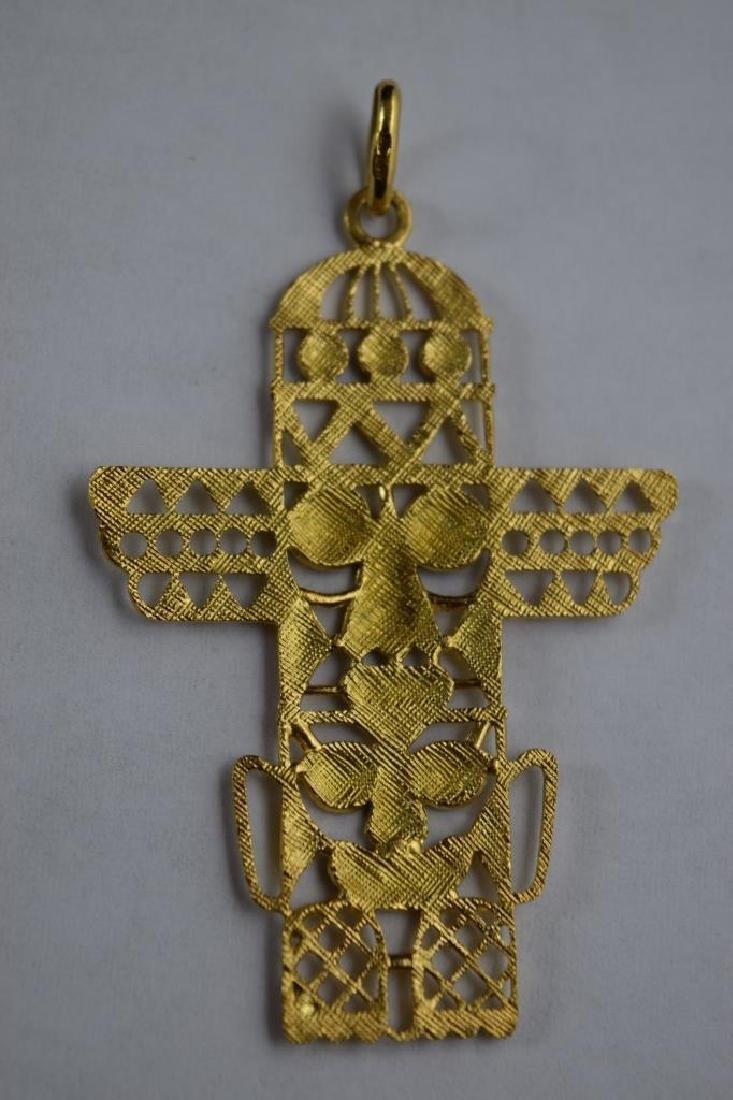 18K GOLD ENAMEL PENDANT PRE-COLUMBIAN STYLE TOTEM - 3