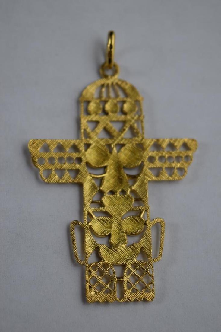 18K GOLD ENAMEL PENDANT PRE-COLUMBIAN STYLE TOTEM - 4
