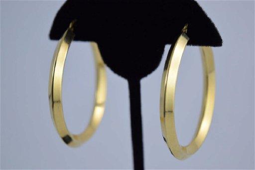 18K GOLD UNOAERRE SQUARE TUBE HOOP EARRINGS