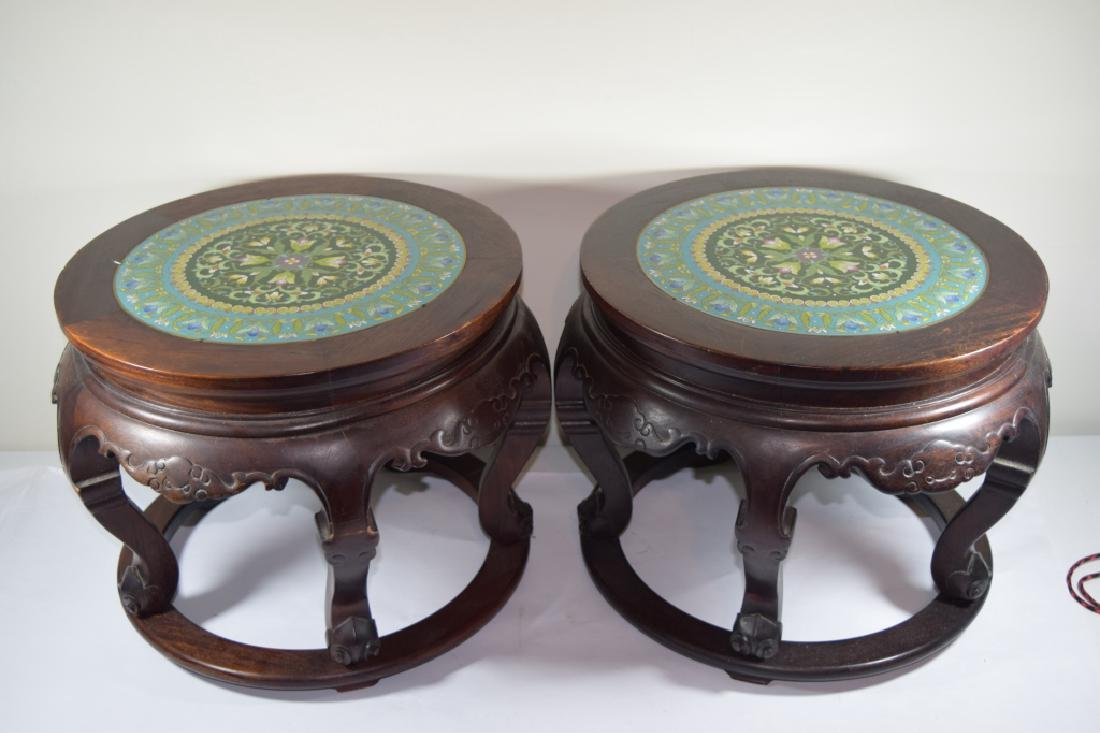 PAIR CHINESE CLOISONNE ENAMEL FLORAL SIDE TABLES