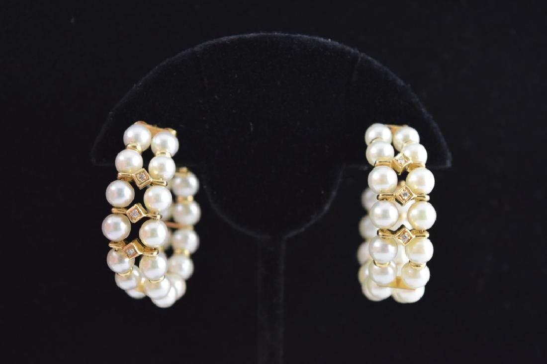 PAIR 14K GOLD DIAMOND PEARL DOUBLE HOOP EARRINGS