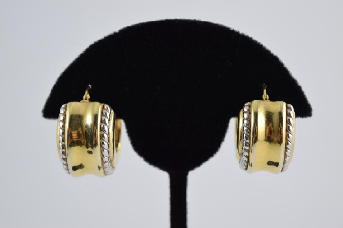 PAIR ITALIAN 18K GOLD GIANT HUGGIE EARRINGS