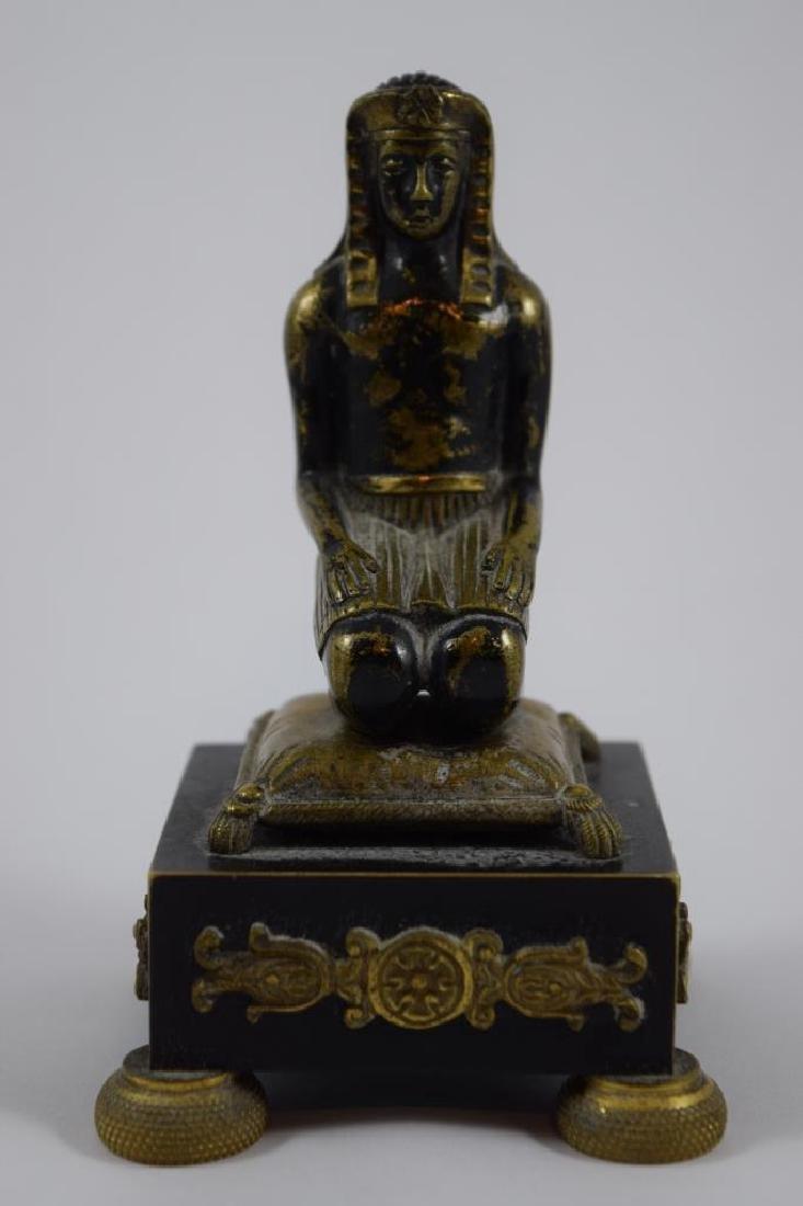 EGYPTIAN PHARAOH KNEELING PRAYING BRONZE