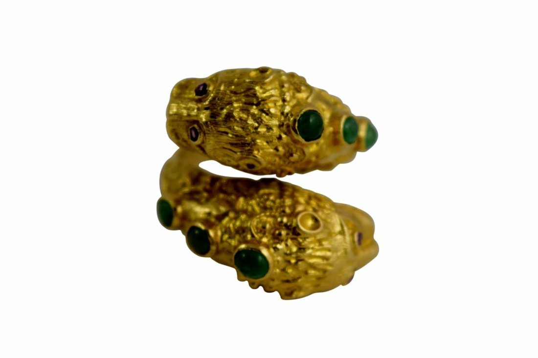 18K GOLD LALAOUNIS STYLE CHIMERA BYPASS RING