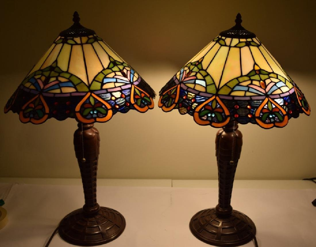 PAIR TIFFANY STYLE STAINED LEADED GLASS LAMPS